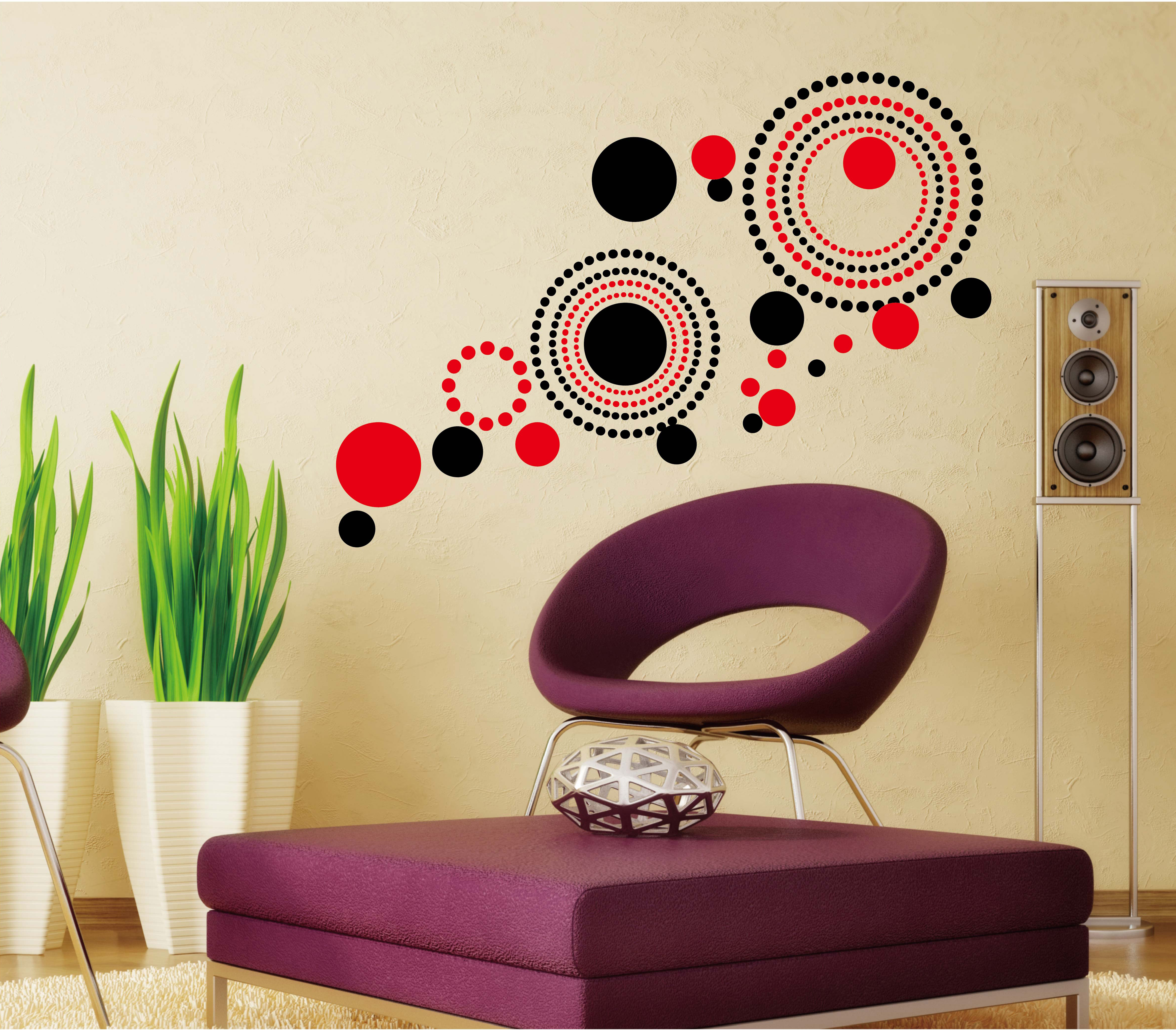 Wall decal dubai sharjah abu dhabi uae online from souq jadopado - Abstract Red And Black Circles Wall Decal Sta 162